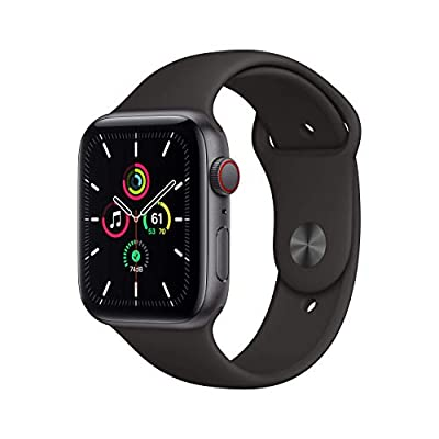 Apple Watch SE (GPS + Cellular, 44mm) – Space Gray Aluminum Case with Black Sport Band (Renewed)