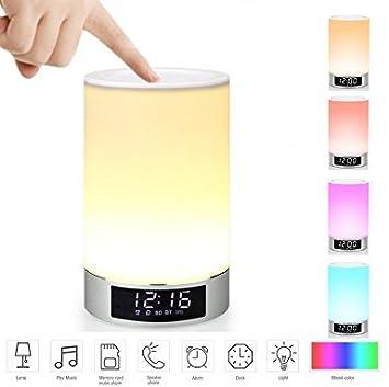 Mabor Lampe de Chevet LED Réglable Bluetooth Haut Parleur LED USB