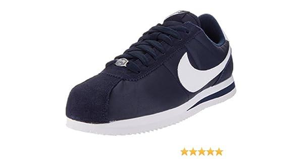 new product bcaa0 a03c4 Amazon.com   Nike Men s Cortez Basic Nylon Obsidian White Mtllc Slvr Casual  Shoe 9   Fashion Sneakers