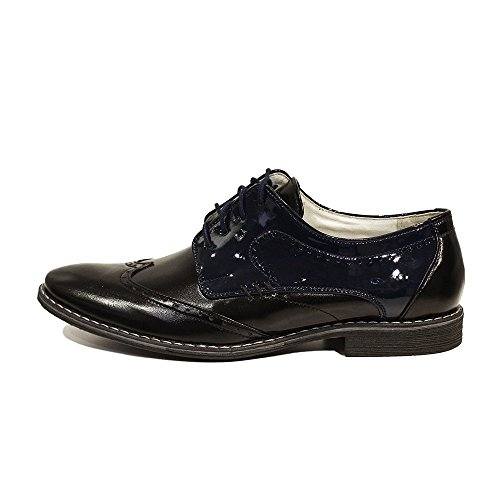 PeppeShoes Modello Crispino - Handgemachtes Italienisch Leder Herren Schwarz Oxfords Abendschuhe Schnürhalbschuhe - Rindsleder Weiches Leder - Schnüren