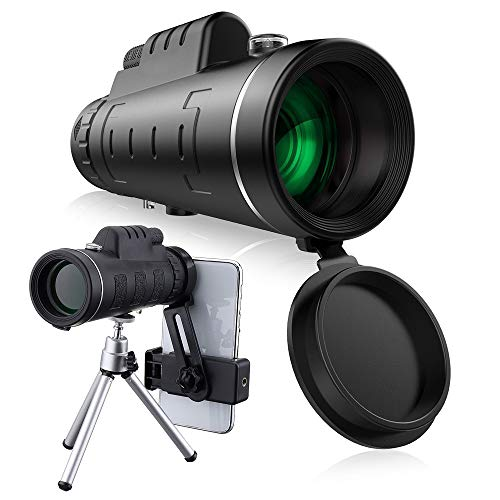 lar Telescope With Tripod Cell Phone Holder,Compass and Low Light Night Vision for Outdoor Birding Travel Sightseeing Hunting ()