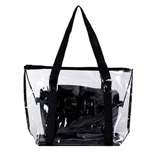 YJYdada Fashion Women Clear Beach Bag Waterproof Bag Shoulder Bag Handbag Messenger Bag (Black)