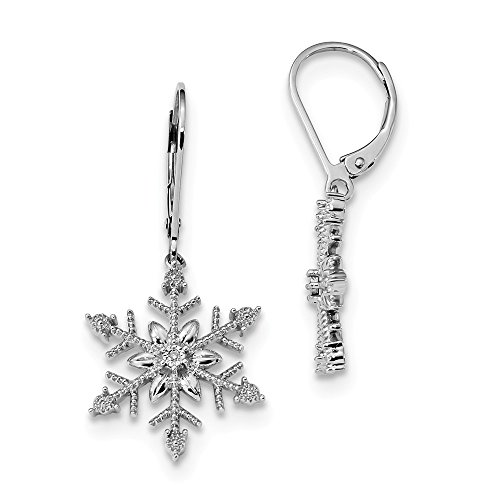 925 Sterling Silver Diamond Snowflake Leverback Earrings Lever Back Outdoor Nature Fine Jewelry Gifts For Women For Her