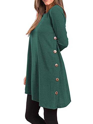Lihuang Women's Long Sleeve Casual Loose Scoop Neck Button Side Sweater Tunic Dress
