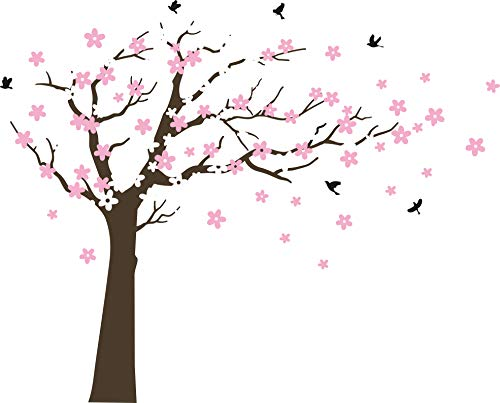 (MAFENT Large Cherry Blossom Tree Blowing in The Wind Tree Wall Decals Wall Sticker Vinyl Wall Art Kids Rooms Teen Girls Boys Wallpaper Wall Stickers Room Decor (Dark Brown Tree,White and Pink Flower))
