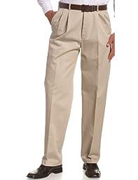 Haggar Men\'s Work To Weekend Khakis Hidden Expandable Waist No Iron Pleat Front Pant,Khaki,38x29