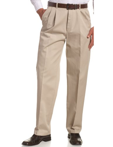 Comfort Waist Pleated Dress Slack - Haggar Men's Work To Weekend Khakis Hidden Expandable Waist No Iron Pleat Front Pant,Khaki,42x30
