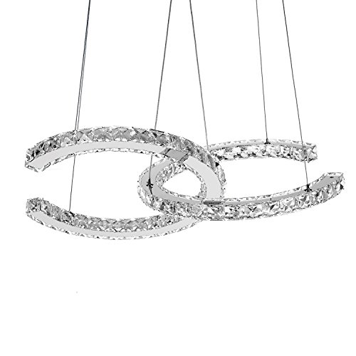 DEARLAN Modern Crystal 2 C Rings Chandeliers Dia 15.74 Ceiling Lighting Fixture Chandelier Lighting for Living Room Hotel Hallway Foyer Entry Bed Room