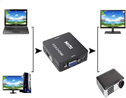 Silverdee Bo/îte dadaptateur de convertisseur vid/éo VGA vers HDMI Femelle Full HD 1080P pour Ordinateur Portable TV