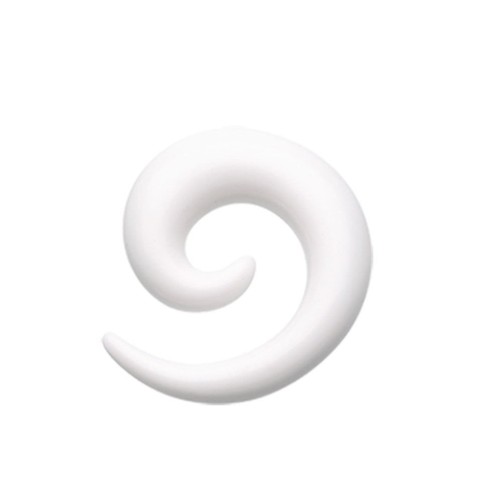 White Solid Acrylic Ear Gauge Spiral Hanging Tapers - Sold as a Pair (13/16'')