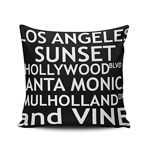 WEINIYA Bedroom Custom Decor Los Angeles Fashion Quotes Pillow Cover Case Elegant Design Double Sides Printed Patterning Square 18x18 Inches
