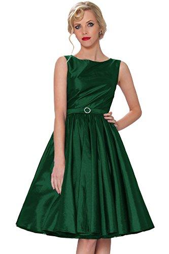 118T SEXYHER Rockabilly ropa Estilo clase oscuro2 del Hepburn RBJ1401 oscilaci¨®n Vintage 1950 Cl¨¢sico Tarde Audrey vestido verde Taqarx50