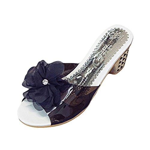 Pantofole Donna Styledresser Scarpe Donna Sexy Plateau Medio Alto Sandali Donna con Tacco Estivi e Plateau Medio Eleganti - Moda Donne Sandali Alti Blocco Partito Pantofole di Fiori Promozione Nero