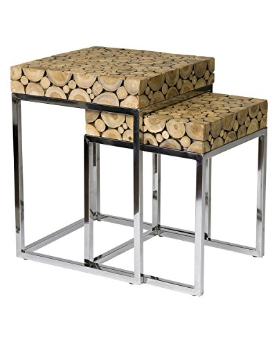 East At Main Serengeti Round Set of 2 Side Tables w/Stainless Steel Base - Walnut Finish Acadia Wood