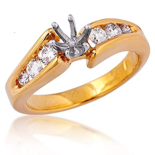 3/8 ct. tw. Six Diamond Channel Set Semi-Mount Ring in 14K Yellow Gold - DXLD8434-L-MTG Channel Set Semi Mount Ring