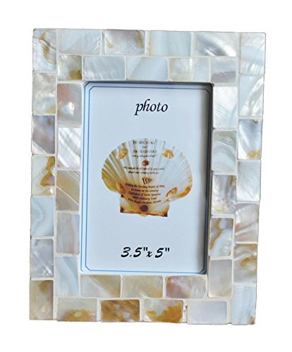 GIFTME 5 Mother of Pearl Mosaic Photo Frames 3.5by5 Beach Ta