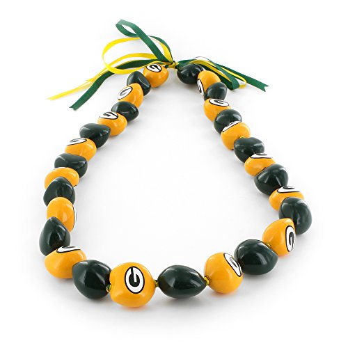 aminco NFL Green Bay Packers Kukui Nut Necklace, Yellow/Black]()