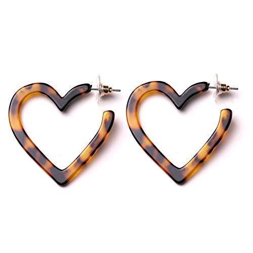 Women Girls Geometric Hoop Earrings Acrylic Dangle Stud Earrings (heart earrings) ()