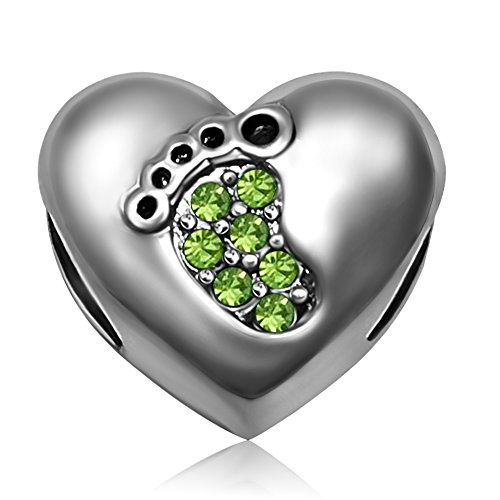 August Kids Charm - JMQJewelry Heart Love Baby Footprints