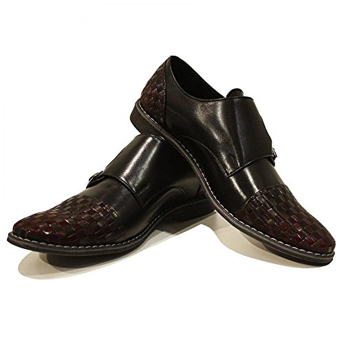 Modello Torino - Handgemachtes Italienisch Leder Herren Braun Mönch Schuhe Abendschuhe Oxfords - Rindsleder Geprägtes Leder - Schnalle
