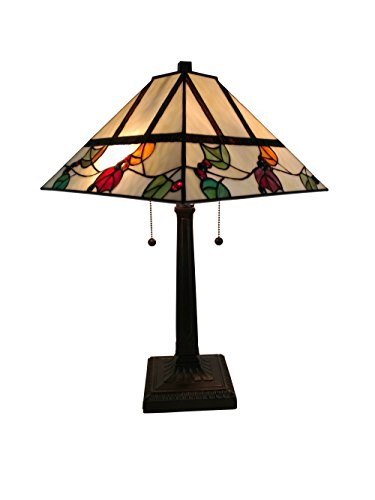 Amora Lighting AM301TL14 22 Inches Tall Tiffany Style Berries/Leaves Mission Table Lamp, 22