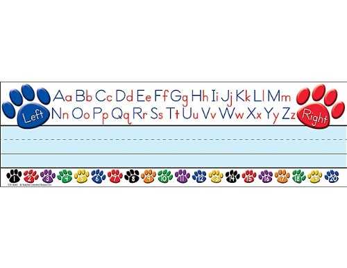 Teacher Created Resources Paw Prints Left/Right Alphabet Name Plates (4040) (Number Lines Print)