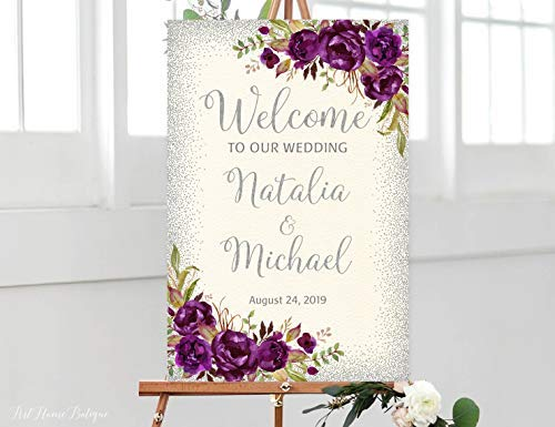 Enidgunter Welcome Wedding Sign Ivory Welcome to Our Wedding Sign Large Welcome Sign Cream Wedding Signs Printable Purple Silver Plum]()