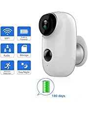 Rechargeable Battery Outdoor Security Camera, Waterproof Wireless 720P Rechargeable Battery Powered Surveillance System,WiFi IP Hd CCTV Video House Monitor