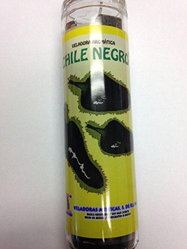Black Chili (Chile Negro) 7 Day Prepared Scented Black Candle in Glass