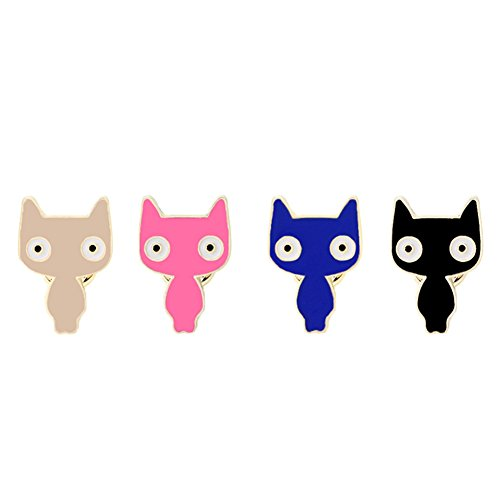 SIVITE Cute Enamel Colorful Big Eyed Cats Brooch Lapel Pin Set for Clothes Hats Bags Scarf Alloy - Cat Eyed