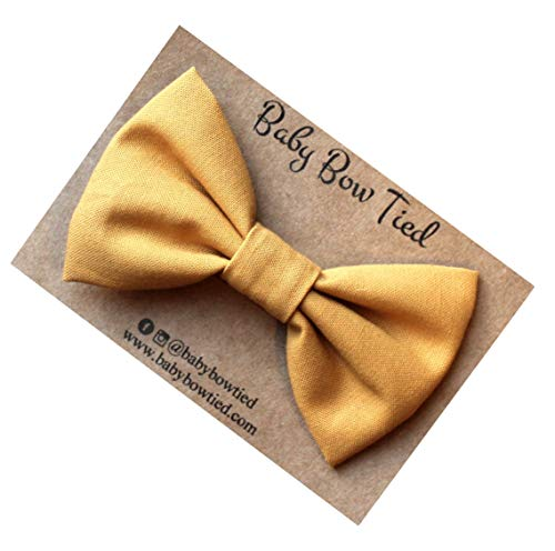 Handmade Mustard Yellow Pre-tied Clip on Bow Tie for Boys