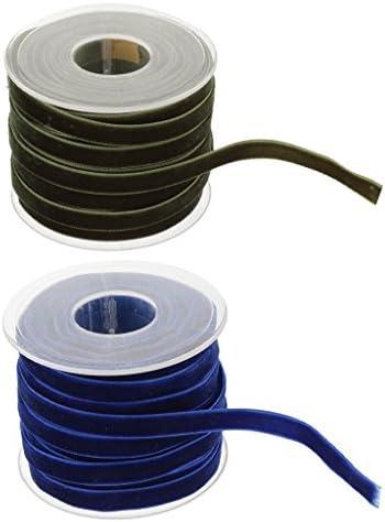 2x20ヤード 10mm ワイド ベルベット リボンロール 縫製 DIY工芸品 手作り ホーム インテリア ナイロン製 2色混合