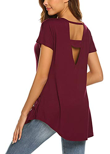 SimpleFun Womens Sexy Backless Short Sleeve Tops Loose Fit Open Back Gym Tops