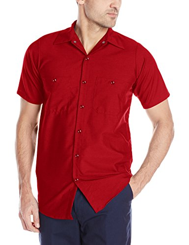 Red Kap Men's Industrial Work Shirt, Regular Fit, Short Sleeve, Red, Small