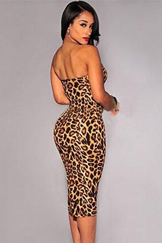 Neue Damen Leopard Print Bodycon Midi Kleid Club Wear Abend Party Sommer Kleider Größe UK 8�?0