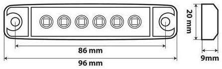 Lampa 97008 Space Light 6 LEDs 12//24V R-18 Red