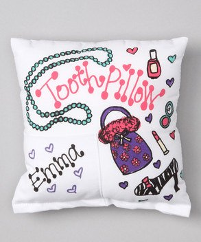 Personalized Tooth Fairy Pillow (Bunnies and Bows - Girly Girl - Personalized Pillowcase)
