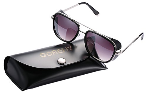 Unisex Cover Side Shield Square Sunglasses Fashion Eyewear for Women Men (black frame/grey lens, as - Leather Sunglasses Side Shield