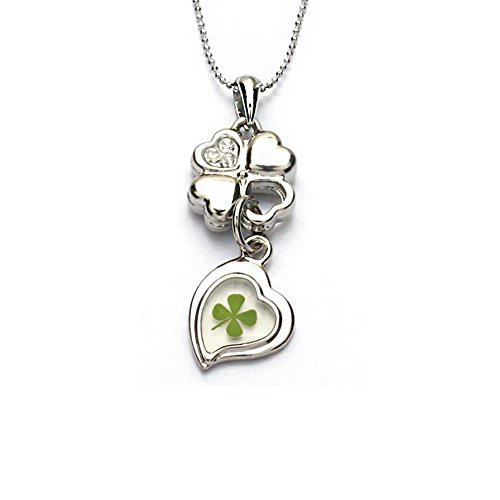 Steel Dangling Heart - Chuvora Stainless Steel Real Lucky Four Leaf Clover Shamrock Dangling Heart Pendant Necklace, 16-18 inches