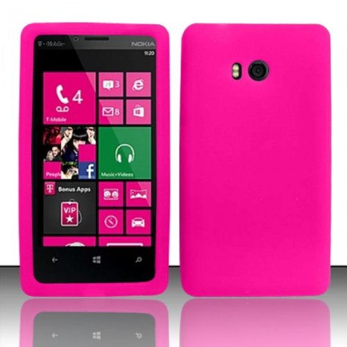 LF Pink Silicon Skin Soft Case Proctor Cover, Lf Stylus Pen and Screen Wiper Bundle Accessory for T-Mobil Nokia Lumia 810