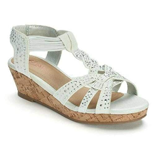 Candie's Big Little Girls Off White Beaded Canvas Wedge Platform Shoes Sandals (5) (Beaded Canvas)