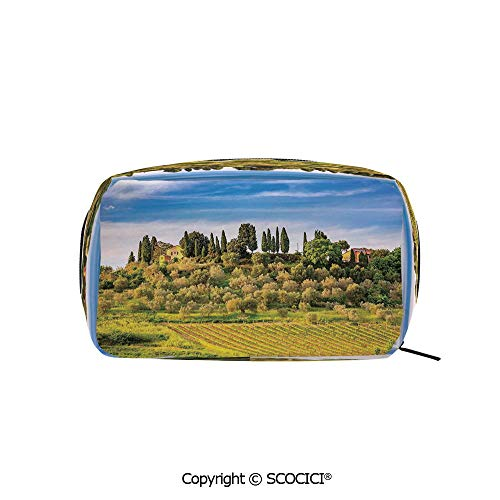 Printed Makeup Bag Organizer toiletry bags Green Field Tranquil Landscape Retro Stone Toscana Farmhouse Vineyard Rectangle Cosmetic Bags for Girls Ladies