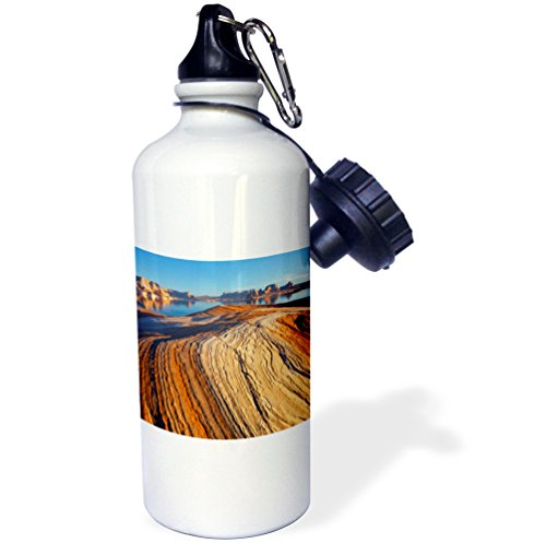 3dRose wb_231621_1''Weathering Pit Ridge at Lake Powell. Sports'' Water Bottle, 21 oz, Natural by 3dRose