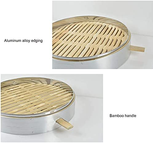 417Bo1e4NfS. AC DFBGL Bamboo Steamer, Chinese Food Steamer Basket, Bao Buns, Dumplings and Vegetables Steam Basket, Cooking Food Cooker, 2 Tier & Lid    Bamboo steamer is the perfect size for home use because it fits most woks and pans. Steaming food is one of the healthiest ways of cooking. Steaming is gentle and seals in the foods flavour and nutrients. It is ideal for cooking food which has delicate taste and texture such as fish and vegetables.Specifications:Type: Bamboo SteamerMaterial: bamboo+stainless steelOutside diameter of the steamer: 52cm;Outside height of single cage: 10cmBe applicable: Easily Steam Dim Sum, Vegetables, Rice, and MeatsPackage Included:3* steamer & 1*lid?~? TipsBamboo products should be dried in time after washing, because the environment is humid, which is not a product quality problem!Due to the difference in light, shooting angle and resolution, the photos you see are slightly different from the actual objects, please understand.Our products are measured manually, there will be slight differences from the actual items, please understand.Bamboo steamers are not made to be placed in an oven or a microwave. And not suitable for dishwasher.After use: After steaming, the grease must be cleaned. If you don't use it frequently or for a long time, you can clean it and blanch the steamer with boiling water, and dry it in the vent (it can be left for a few more days until it is dry in humid weather) .Multi-layer design - The bamboo steamer with 3-layer steamer can steam different kinds of food at the same time, which can save a lot of time and play a bigger role in the kitchen to make your meal more abundant.Healthy cooking - steaming allows your food to retain more of their nutrients making them taste better and better for you. Also helps you to avoid the fats found olive, vegetable or canola oils.Safe material-The steamer is made of bamboo material, stainless steel edging, environmentally friendly, durable, non-toxic, good heat resistance, ca