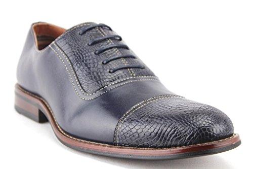 Blue Mens Dress Shoes Toe Balmoral Cap Oxfords Gator 19509L Faux FzZqwFaB