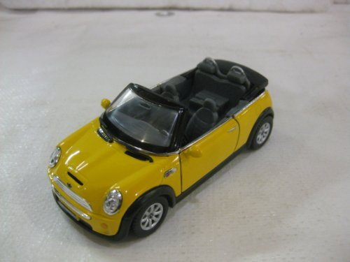 Mini Cooper S Convertible In Yellow Diecast 1:28 Scale By Kinsmart ()