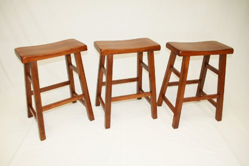 eHemco Set of 3 Heavy Duty Saddle Seat Bar Stools Counter, used for sale  Delivered anywhere in USA