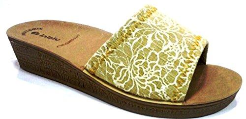 mujer 38 de amarillo tela casa para por Zapatillas amarillo de INBLU estar 6SUqU8