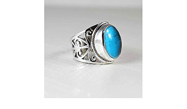 Cab Stone Turquoise Gemstone Designer Ring 925 Sterling Silver Jewelry Handmade Designer Ring Size US 8.5 Jewelry for Women-ar4191