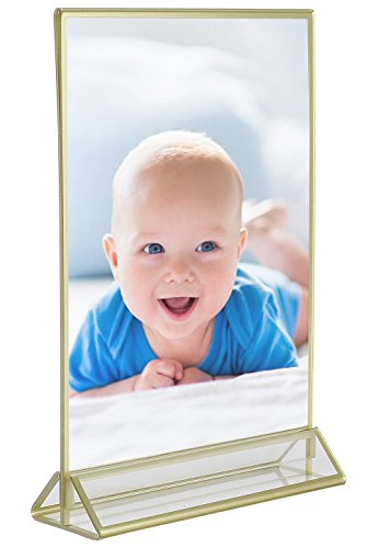 Super Star Quality Clear Acrylic Double Sided Frames Display Holder with Vertical Stand and 3mm Gold Border, 5 x 7-Inches (Pack of 6) by Super Star Quality (Image #6)
